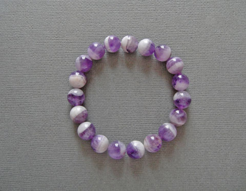 Chevron Amethyst Bracelet 10mm Beads