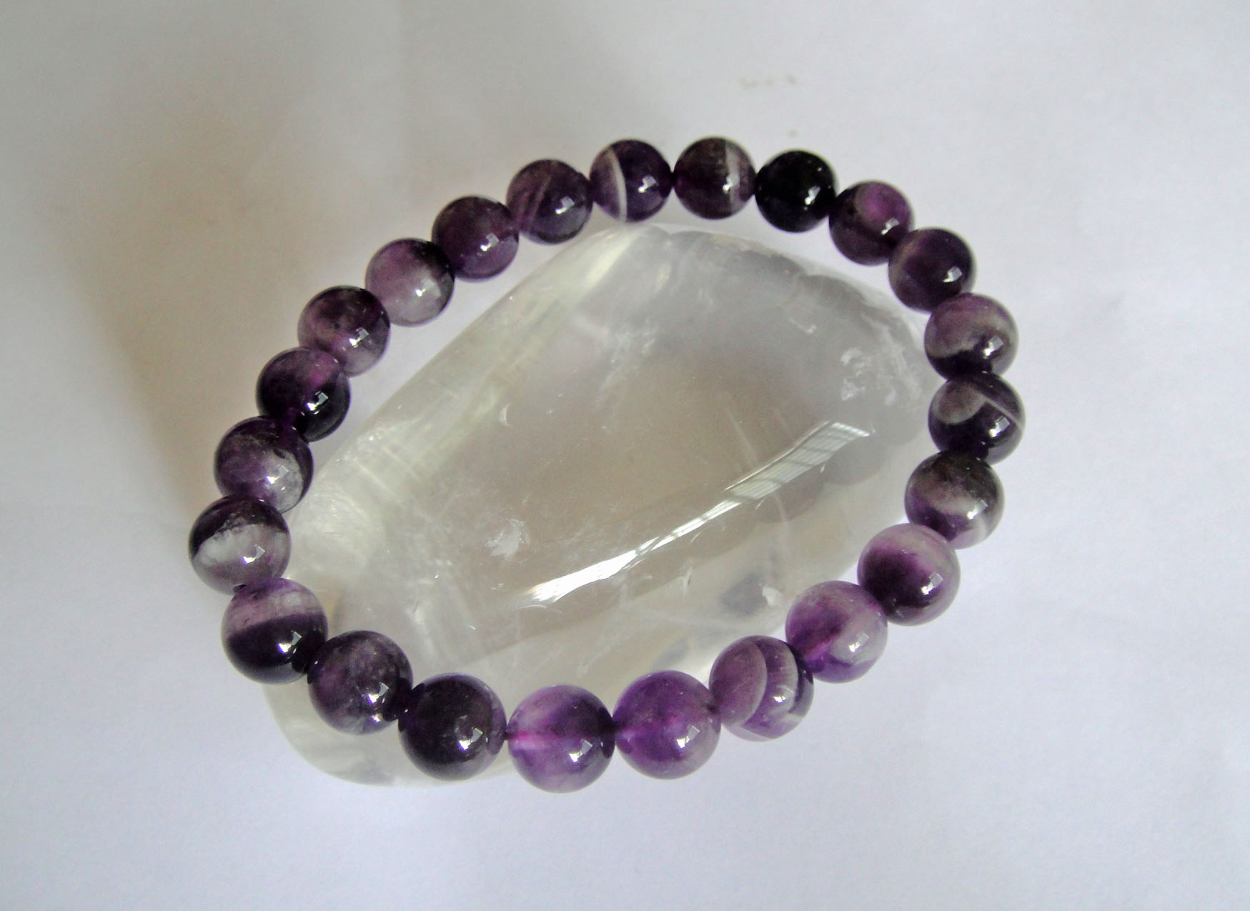 Chevron Amethyst Bracelet  8mm Beads
