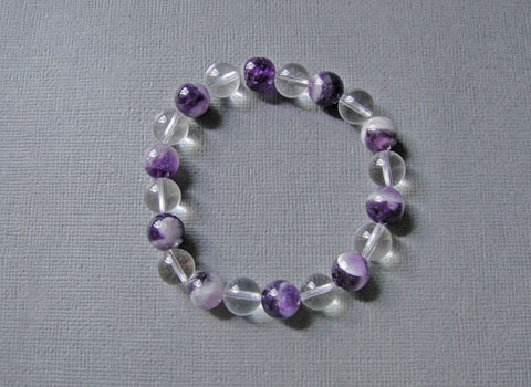 Chevron Amethyst and Clear Quartz Bracelet