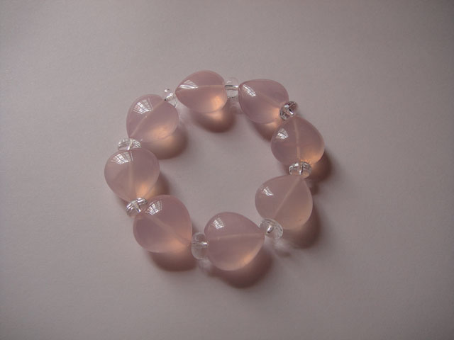 Heart Shape Rose Quartz  Bracelet - SOLD